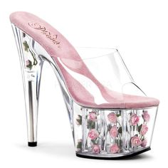 Pleaser Sexy Shoes 7 Inch Stiletto Heel Flower Filled Platforms Slide Slip on Shoes Stripper Shoes Sexy Pole Dancing Shoes Funky Shoes, Crazy Shoes, Weird Shoes, Platform Stilettos, Stiletto Heels, Black Platform, 7 Inch Heels, Transparent Heels, Shoe Boots