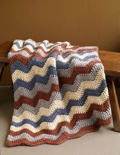 This soft ripple afghan works up super quickly with Hometown USA yarn. (Lion Brand Yarn)
