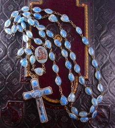 RARE Lourdes Holy Water Rosary with tiny statues in each bead Sacred...