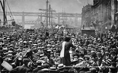 Suffragette rally, Newcastle Quayside 1914. Celebrating 100 years of women gaining the right to vote.