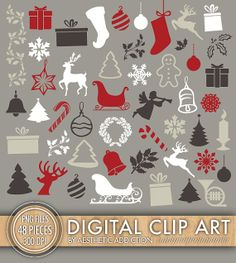 INSTANT DOWNLOAD - Christmas Clipart Set - 48 Pieces - Christmas Tree Ornaments Stockings Snowflake - Commercial Use - PNG Files - caset068