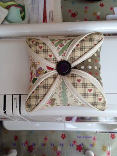My 1st cathedral quilting 2014, pincushion
