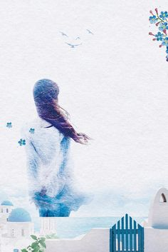 This graphic is about spring, watercolor painting, girl, white house and sea. More free backgrounds download from pngtree.