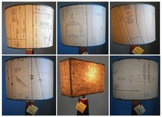 lampshades decoupaged by hand with sewing pattern paper [by Patturn]
