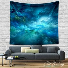 TAPESTRIES Turquoise Clouds Tapestries Galaxy wall by ArtBedding