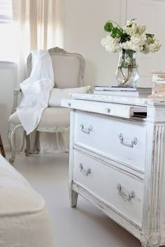 Spring cleaning in Burlap Luxe home Florals of white Dusted grey chandelier in the entry. Girly Bedroom, White Rooms, Decor, Furniture, Interior, Shabby White, White Interior, Shabby Chic Homes, Home Decor