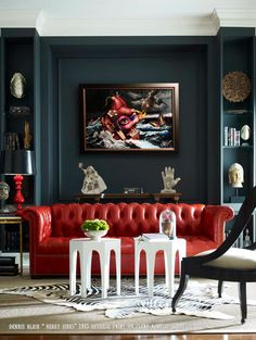 Diana Parrish Design and Photography + Emerson et Cie via Masins Fine Furniture (Red couch & dark gray wall w/ abstract painting) Decor, Red Sofa, Room Design, Living Room Decor, Home Decor, House Interior, Red Leather Sofa, Interior Design, Decorating Your Home