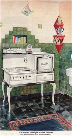 1929 Hotpoint Range Ad - Vintage Kitchen Inspiration from the - Art Deco Cuisinières Vintage, Vintage Decor, Vintage Antiques, 1920s Kitchen, Vintage Kitchen, Old Stove, Vintage Stoves, Antique Stove, Regal Design