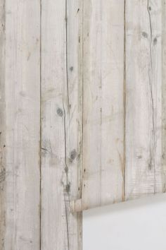 Scrapwood Wallpaper in Neutral - I would love to have this as an accent wall.  It also fits the wood/natural theme of the room.  #onekingslane #designisneverdone