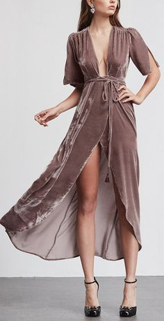 Silk velvet wrap maxi Bordeaux Dress