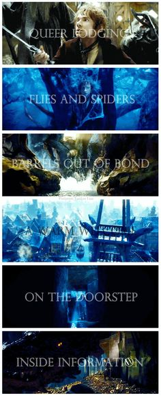 The Hobbit   ...  The Desolation of Smaug  Chapter titles set to movie scenes. Gosh I love this.
