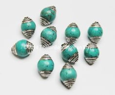 10 Beads - Ethnic Tibetan Turquoise Beads with Tibetan Silver Caps - Ethnic Nepal Tibetan Artisan Handmade Beads - B1805-10