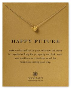 """Dogeared Happy Future Origami Swan Necklace, 18"""" 