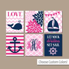 Girl Nautical Wall Art Canvas or Prints Whale Sailboat Anchor Baby Girl Nursery Wall Art Girl Bedroom Artwork Let Your Dreams Sail Set of 6 by TRMdesign on Etsy https://www.etsy.com/listing/244028924/girl-nautical-wall-art-canvas-or-prints