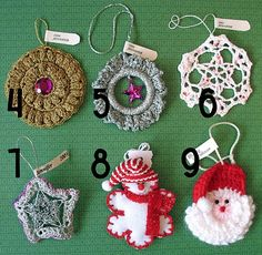 4. Crocheted gold ornament. 5. Silver crocheted ornament. 6. Crocheted doily hardened with Mod Podge or similar substance. 7. Crochet attached to a silver star. 8. Snowflake man. The body is felt with crochet edging. 9. Crocheted Santa.: