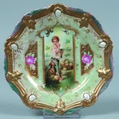 """RS Prussia Small Plate, 6""""d.; Mold 18, Ribbon And"""