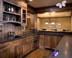 15 Interesting Rustic Kitchen Designs | Home Design Lover  <br> Rustic Kitchen Cabinets, Rustic Kitchen Design, Kitchen Decor, Kitchen Designs, Kitchen Wood, Basement Kitchen, Dark Cabinets, Rustic Basement, Modern Basement