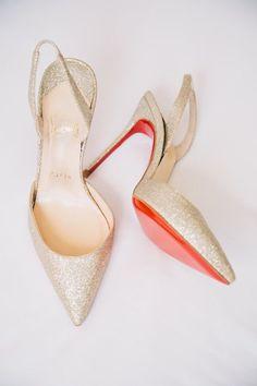 gold bridal wedding shoes glitter louboutin spike heels Photo By Weddings by Willy & Meghan  www.weddingswm.com