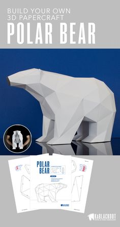 Polar Bear papercraft DIY project. Build your own paper craft polar bear sculpture using this PDF template and easy to follow instructions. Just add glue and card! Start creating today! PDF Instant download.
