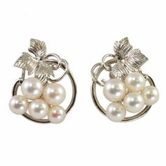 Vintage Miki Moto Pearl Earrings  Silver for wedding by affordablevintage4U, $175.00