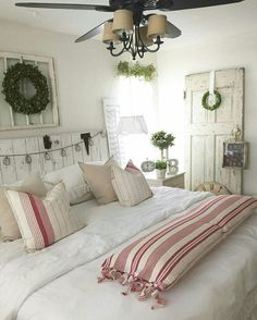 farmhouse chic bedroom with a touch of red
