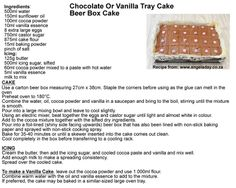Chocolate Or Vanilla Tray Cake baked in a Tray or Beer Box. Ideal for school or church bazaars!  Recipe from: www.angeladay.co.za :)
