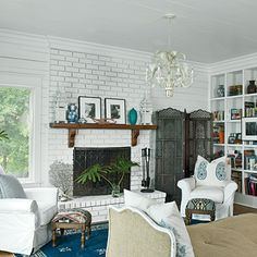 A coat of paint took this fireplace from dreary to dreamy.
