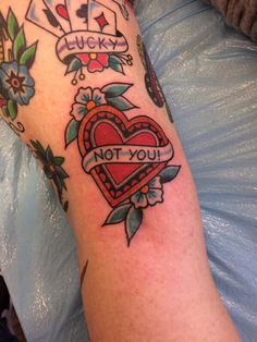Fresh traditional heart and banner! Done by Ben Matheny at Grinn and Barrett Omaha NE