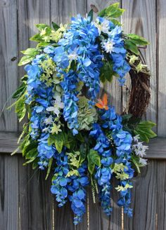 Blue and Green Wisteria Spring Wreath, by IrishGirlsWreaths, $129.99