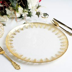 Glass beaded charger plates will add elegance and style to any tablescape. Buy clear charger plates at eFavormart with wholesale prices. These Glass Beaded Chargers are also available in four different color beads. Come let's shop with us ! Gold Napkin Rings, Gold Napkins, Charger Plates, Plate Chargers, Gold Chargers, Silver Spray, Plastic Dinnerware, Gold Centerpieces, Banquet Tables