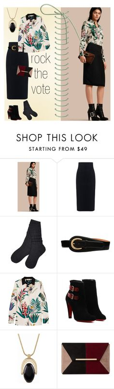 """""""To the Polls"""" by petalp ❤ liked on Polyvore featuring Burberry, 10 Crosby Derek Lam, UGG, W.Kleinberg, Tory Burch, Talbots, Dune, black and skirt"""
