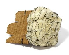 Myung Urso Brooch: The flow 2013 Silk, Wood, Thread, Sterling silver 12.5 x 10 x 2.5 cm