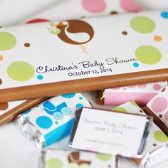 custom candy bar labels- great idea for a baby or bridal shower!