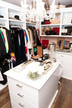 kyle richards closet. love this island and the chandelier
