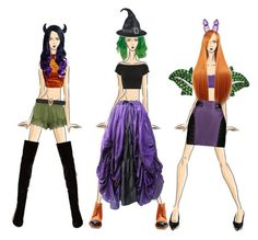 """Halloween Squad"" by beanpod ❤ liked on Polyvore featuring art, Halloween, purple, black, orange and Costume"