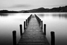 Lake Pier Landscapes Photographic Print - 61 x 41 cm Black And White Picture Wall, Black And White Beach, White Lake, Black And White Landscape, Black And White Aesthetic, Black And White Pictures, White White, Photowall Ideas, Lake Photos