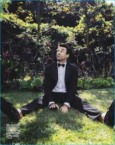 Charming in a photo shoot for GQ Australia, Jon Hamm dons a Giorgio Armani tuxedo jacket, shirt, and silk bow-tie with Ermenegildo Zegna loafers, Bulgari cufflinks, and Tom Ford shirt studs.