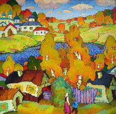 Valery Veselovsky - Russia  The poetry of Russian scenery and of rural life in this country, high aesthetic qualities of old Russia's architecture full and inspire his art. His intention is not to delineate the image of a particular piece of scenery, but to bring out through art what is common for Middle Russia's nature in it. A picture to him is not just an enlarged and polished up sketch, but the product of imagination, generalizations.