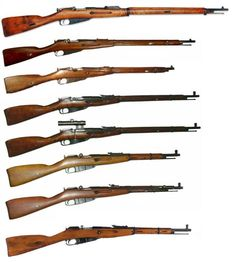 """The Mosin Nagant series of Russian rifles.  From top to bottom: Mosin–Nagant M91 / Mosin–Nagant M91/ """"Dragoon"""" Mosin–Nagant/ M07 Carbine Mosin–Nagant M91/30/ Mosin–Nagant M91/30 PU Sniper/ Mosin–Nagant M38/ Carbine Mosin–Nagant M44 Carbine/ Mosin–Nagant M59 Carbine The Mosin Nagant, standard issue rifle for the Red Army during WW2, is still in use in places like Iraq, Afghanistan, and Syria."""