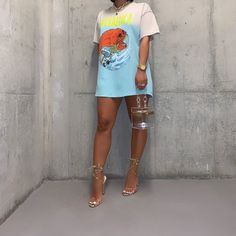 Slaying in tee, heels and bag🧡 . Cute Casual Outfits, Dope Outfits, Stylish Outfits, Girl Outfits, Summer Outfits, Fashion Outfits, Black Girl Fashion, Love Fashion, Fashion Looks