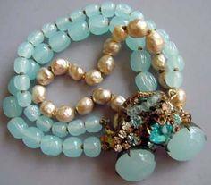 Miriam Haskell - Parure 'Pastel' - Perles Nacre Imitation, Perles Vert Nil et Strass - Années 60