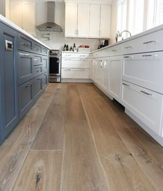 The dusty blue island compliments these prefinished hardwood wide plank flooring perfectly! Wide Plank Flooring, Engineered Hardwood Flooring, Prefinished Hardwood, Light Wood Flooring, Plywood Floors, Plywood Furniture, Best Wood Flooring, Wood Laminate Flooring, Wood Planks