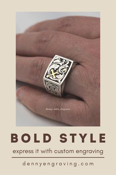 Express your bold style with custom engraving! Pictured is a sterling silver signet ring I engraved with a custom design. See my portfolio here! Metal Engraving, Custom Engraving, Best Jewellery Design, Engraved Jewelry, Custom Metal, Bold Fashion, Signet Ring, Ancient Art, Custom Design