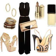 Date Night - Black and Gold Jumpsuit - Style - Outfits - Woman's Clothes - Woman's Fashion - Female Fashion - Wardrobe - Female Style - Woman's Style - Casual Outfit - Office Attire - Woman's Attire - Feng Shui Your Home & Closets at www.DeniseDivineD.com - Get Your FREE Feng Shui for Love Report! Más