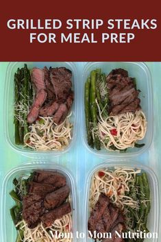 Grilled Strips Steaks for Meal Prep is the perfect option for prepping ahead so you'll have protein-packed meals throughout the week. Grill the beef, pair with sides, and package for multiple meals! Lunch Recipes, Healthy Dinner Recipes, Breakfast Recipes, Healthy Lunches, Easy Steak Recipes, Grilled Steak Recipes, Strip Steak, Family Meals, Family Recipes