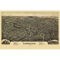 Antique Map of Cambridge Ohio 1899 Guernsey County Canvas Art - (24 x 36)