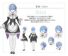 Rem (Re:Zero) - Re:Zero Kara Hajimeru Isekai Seikatsu - Image - Zerochan Anime Image Board Character Reference Sheet, Character Model Sheet, Drawing Reference, Character Concept, Character Art, Concept Art, Character Creation, Rem Re Zero, Anime Manga
