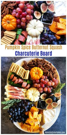 Baked Pumpkin Spice Butternut Squash Charcuterie Board for your next Fall gathering - Appetizers Charcuterie Recipes, Charcuterie And Cheese Board, Charcuterie Platter, Cheese Boards, Thanksgiving Appetizers, Thanksgiving Recipes, Fall Recipes, Holiday Recipes, Holiday Treats