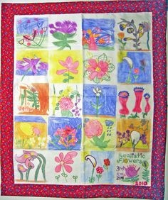 charity heirloom quilt crafted of textile blocks hand-drawn by ... : we r quilts - Adamdwight.com