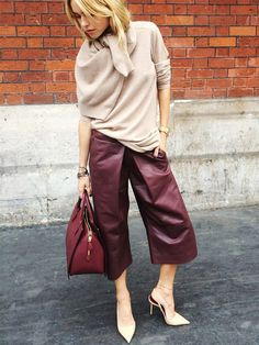Great for fall and winter!>>> Pernille Teisbaek in fashion-forward leather culottes Fashion Mode, Work Fashion, Star Fashion, Fashion Looks, Womens Fashion, Fashion Trends, Denim Fashion, Leather Culottes, Leather Pants
